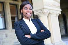 young professional girl in business suit