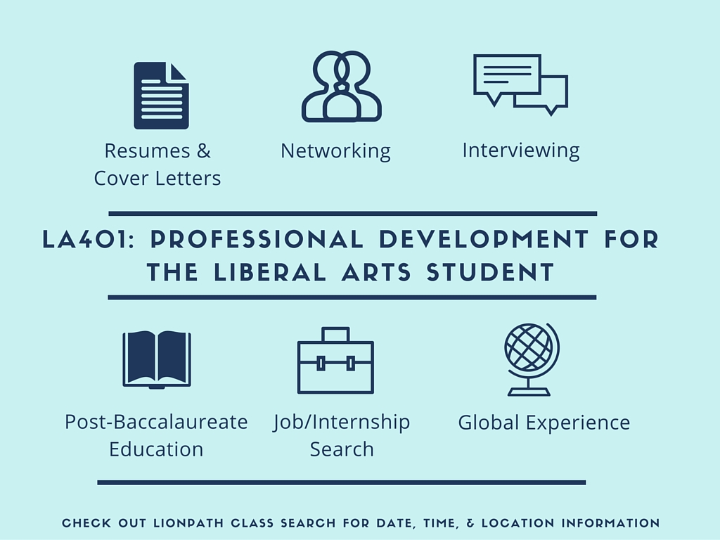 Register for Liberal Arts Professional Development Course LA 401 Fall 2018