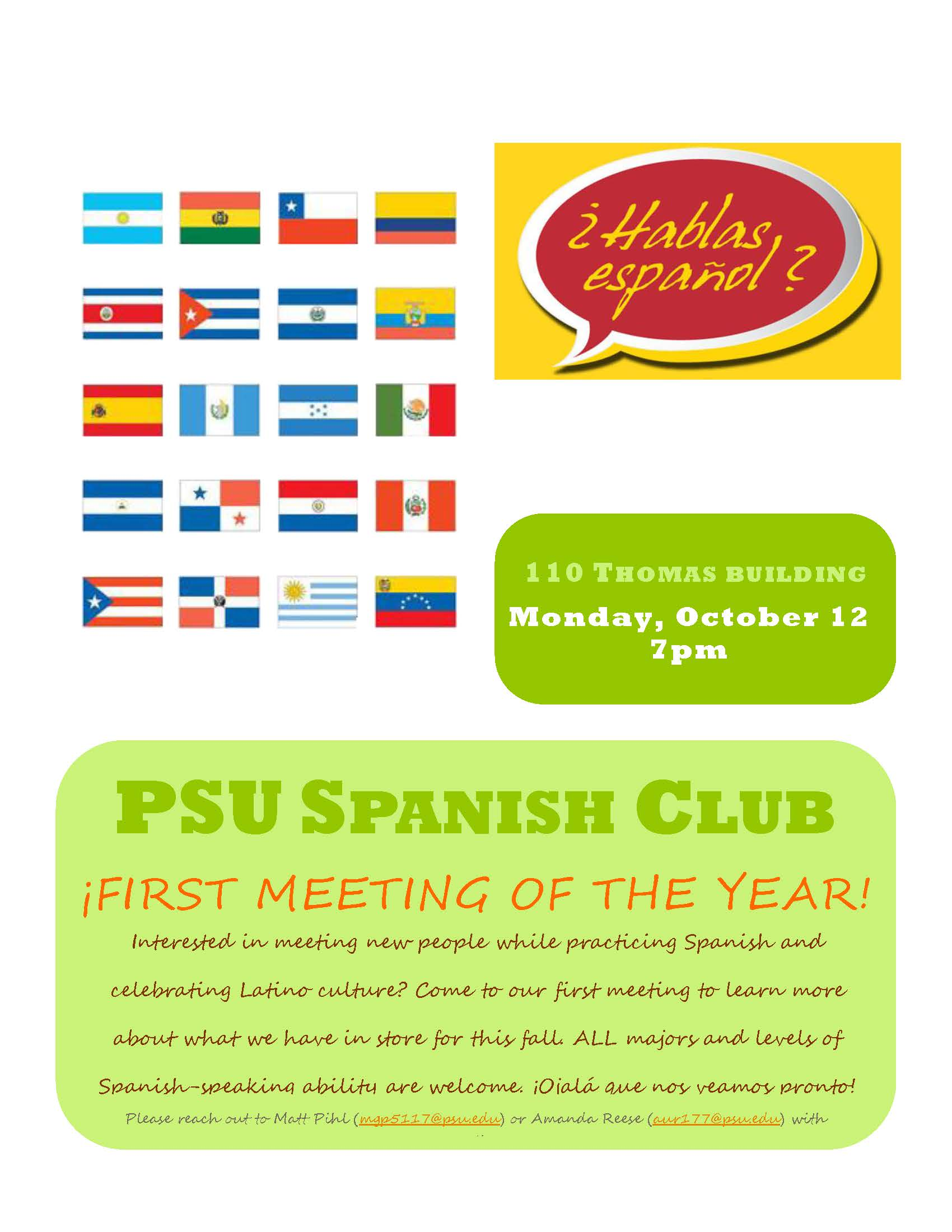 Penn State Spanish Club – First Meeting October 12th!