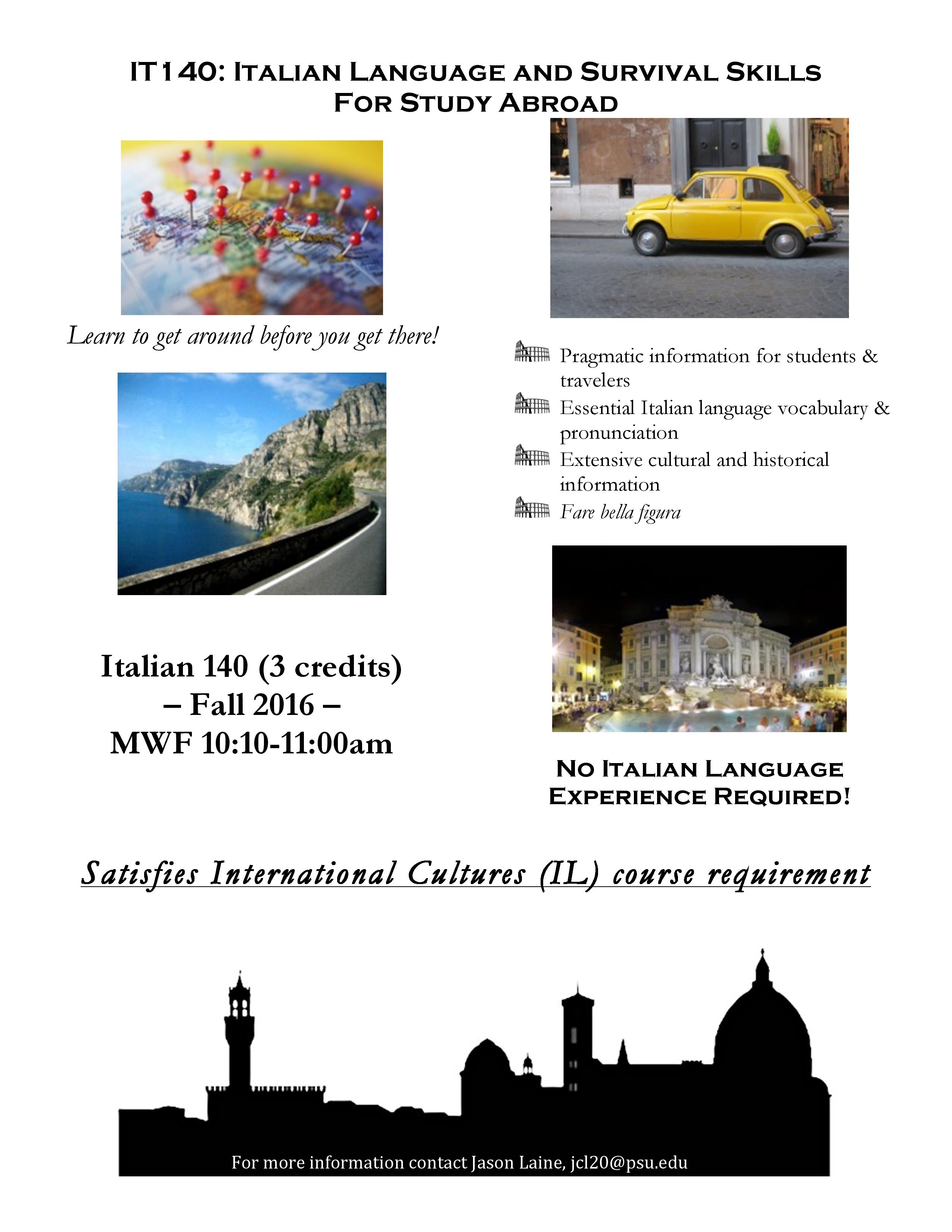 Studying in Italy this Spring? Italian Language and Survival Skills for Study Abroad is the course for you!