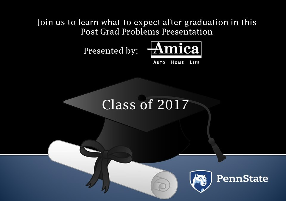 """Post Grad Problems"" Workshop & Info Session Sponsored by Amica Insurance"