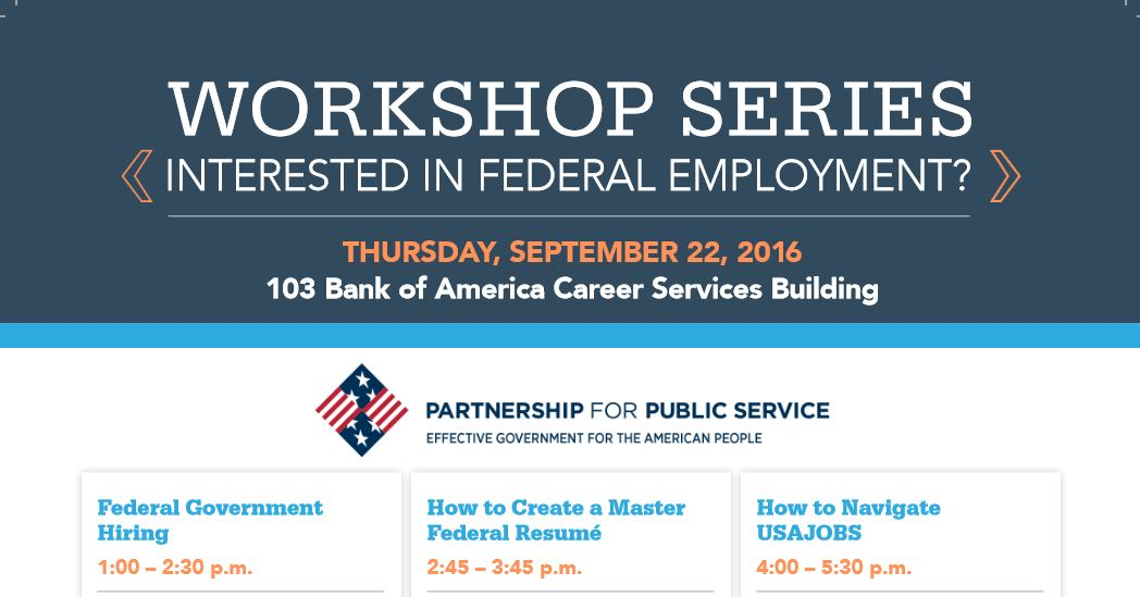 Interested in Federal Employment? Attend these Partnership for Public Service Workshops