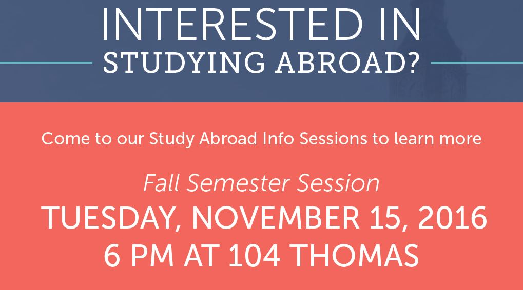 Faculty Led Study Abroad Information Session: November 15
