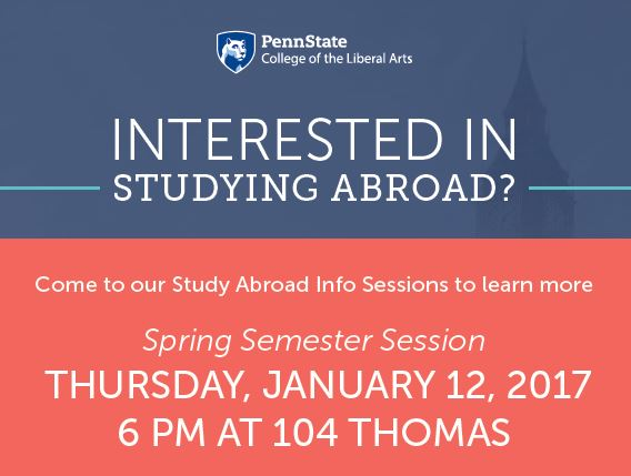 Faculty Led Study Abroad Info Session: January 12