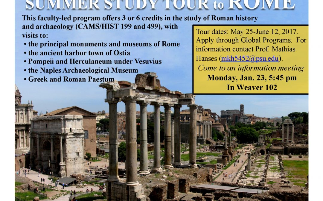 Summer Study Tour of Rome, Information Session- Monday, January, 23, 5:45pm